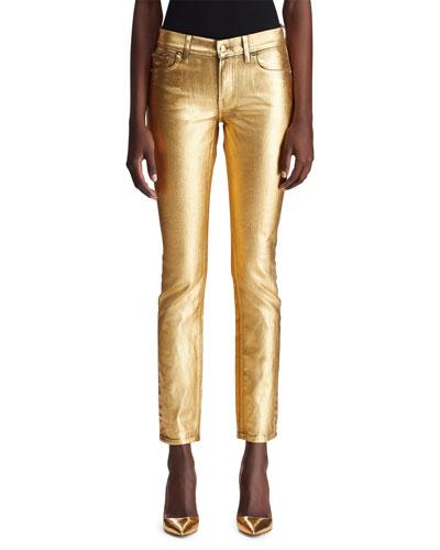 160 Slim Metallic Denim Jeans
