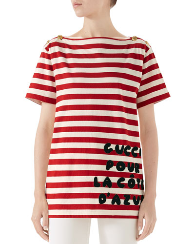 Cote d'Azur Striped Patch T-Shirt