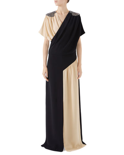 Shell-Shoulder Bicolor Silk Dress