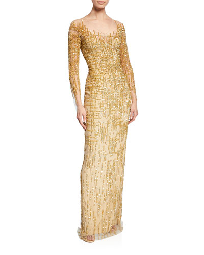 Long-Sleeve Embroidered Illusion Gown