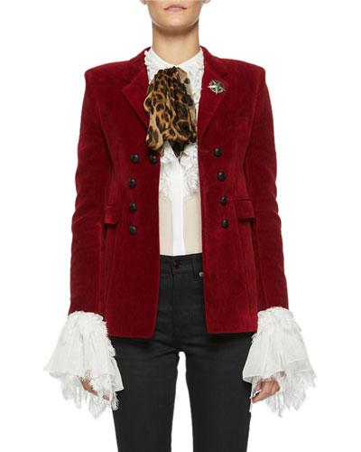 bbbfa636867 Quick Look. Saint Laurent · Spencer Velvet Patch-Pocket Blazer Jacket