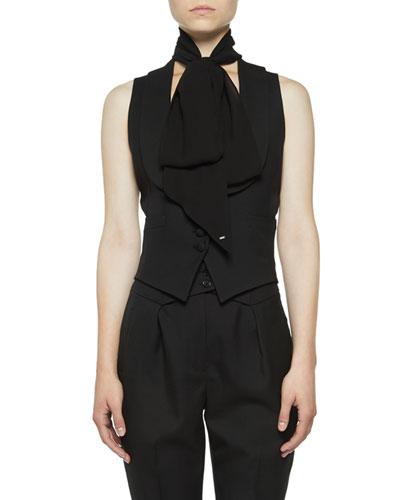 Shawl-Collar Gabardine Vest