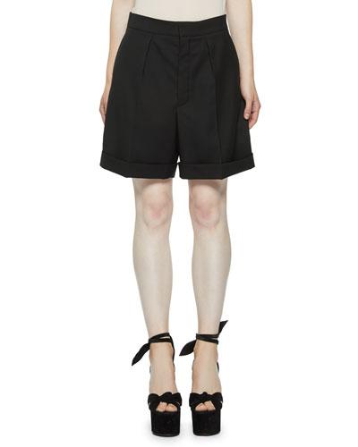 Pleated Wool Bermuda Shorts