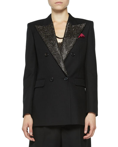 Double-Breasted Tailored Jacket with Crystal Lapels