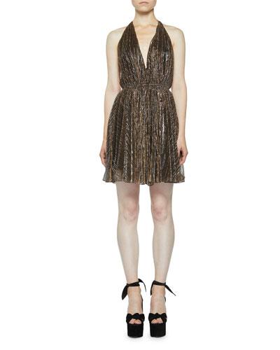 Backless Metallic Plisse Halter Dress