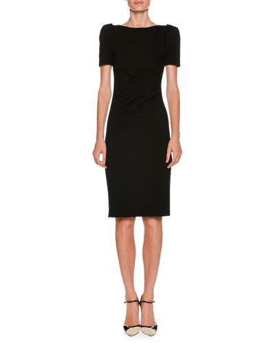 Bateau-Neck Short-Sleeve Sheath Dress w/ Ruched Side