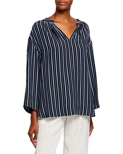 1af301317b4c7b Quick Look. Co · Kimono-Sleeve Striped Silk Blouse