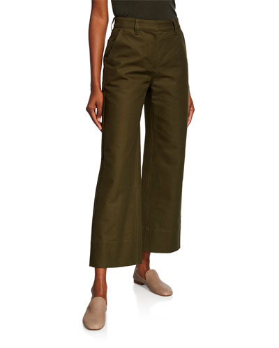 High-Rise Cropped Work Pants