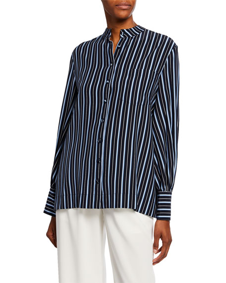 Co Striped Silk Button-Front Shirt