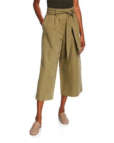 Tie-Waist Wide Leg Cropped Pants