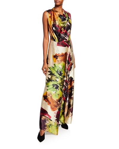Cowl-Neck Floral Satin Maxi Dress