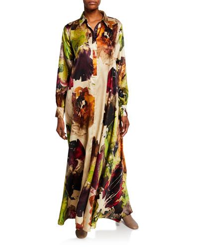 Floral Satin Maxi Shirtdress
