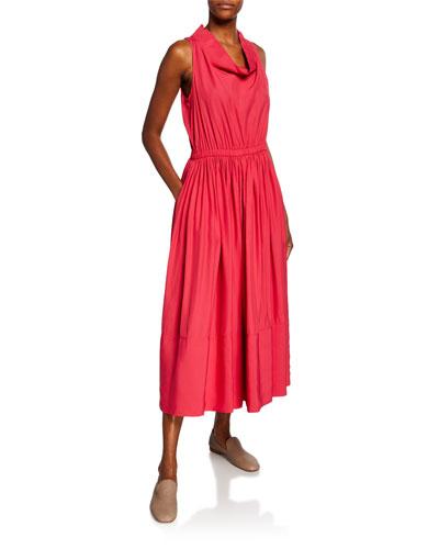 Cowl-Neck Broadcloth Midi Dress