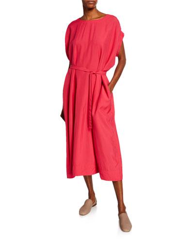 Cap-Sleeve Belted Broadcloth Midi Dress