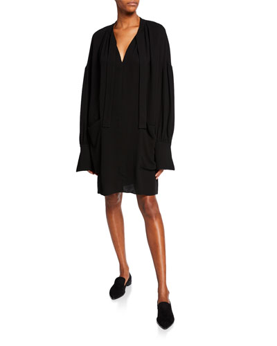 Long-Sleeve Dropped Shoulder Dress