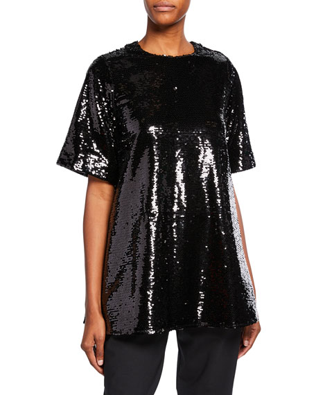 Co Short-Sleeve Sequined Round-Neck Top