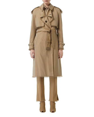 Ring-Trimmed Double-Breasted Trench Coat