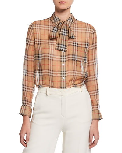 091fba26 Quick Look. Burberry · Vintage Check Chiffon Tie-Neck Shirt