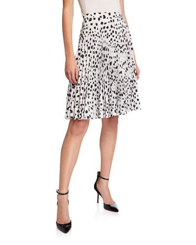 Dalmatian-Print Crepe Pleated Skirt