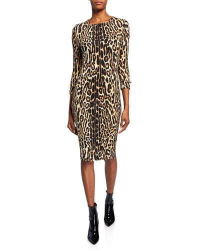 Leopard Print Stretch Jersey Mini Dress