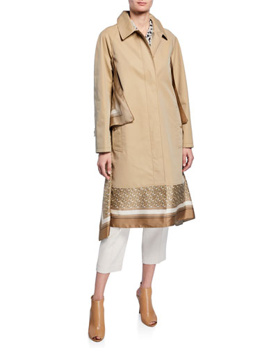 Silk Scarf-Trim Gabardine Car Coat