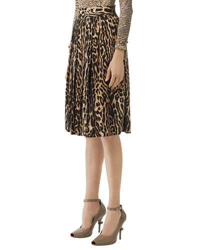 Leopard Print Stretch Silk Pleated Skirt