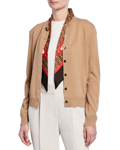 Cashmere Monogram-Print Silk Scarfed Cardigan, Brown