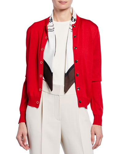 Cashmere Logo-Print Silk Scarfed Cardigan, Red