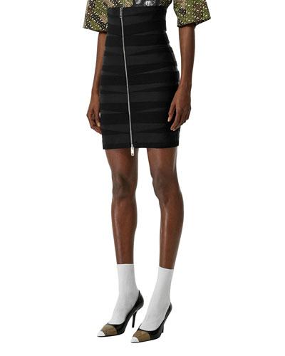 Elastic-Strip Front & Back Zip Skirt