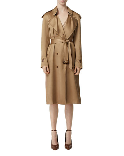 Silk Satin Dressed Trench Coat