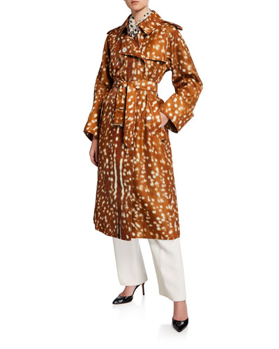 Exaggerated Cuff Deer-Print Trench Coat