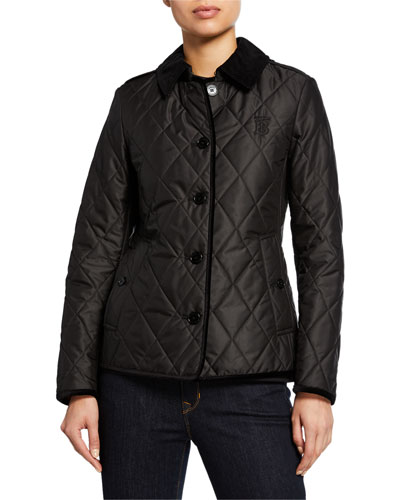 Corduroy-Trim Monogram Diamond-Quilted Jacket