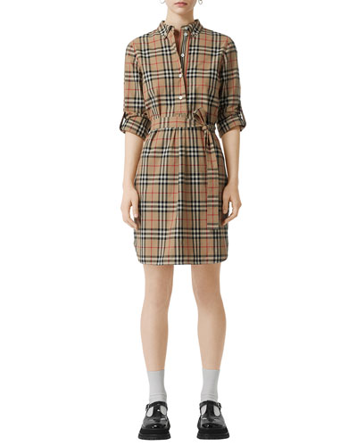 7bf18931b8f Quick Look. Burberry · Vintage Check Cotton Tie-waist Shirtdress