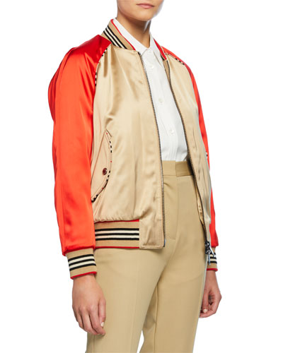 Icon Stripe Detail Monogram Motif Bomber Jacket