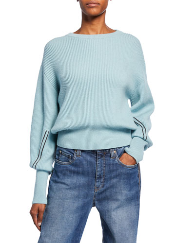 Shorter-Bodied Cashmere Monili-Sleeve Sweater