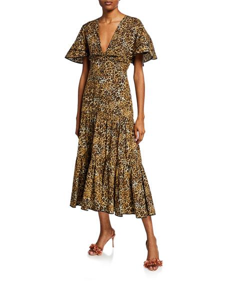 Johanna Ortiz Leopard-Print Poplin Short-Sleeve Dress