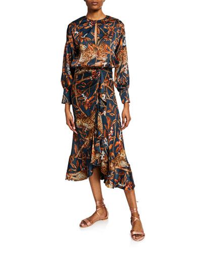 Running with Jaguars Georgette Long-Sleeve Crewneck Dress