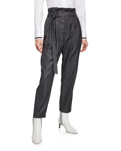 Lightweight Wool Paperbag Pants