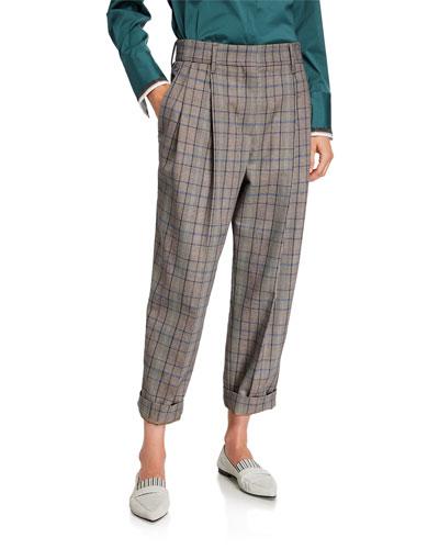 Plaid Pleated Crop Pants