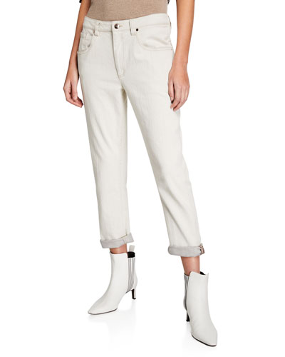 Monili-Cuff Garment Dyed Jeans
