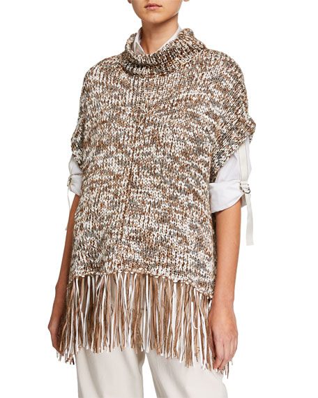 Brunello Cucinelli Dry Cotton Fringe Turtleneck Poncho