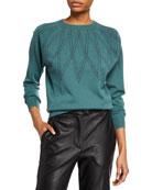 Brunello Cucinelli Cashmere Monili-Argyle Crewneck Sweater