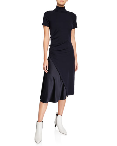 2c9c22ee Quick Look. Brunello Cucinelli · Short-Sleeve Mock Neck Dress