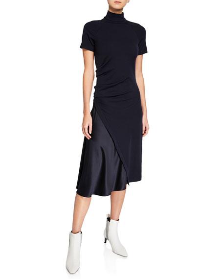 Brunello Cucinelli Short-Sleeve Mock Neck Dress