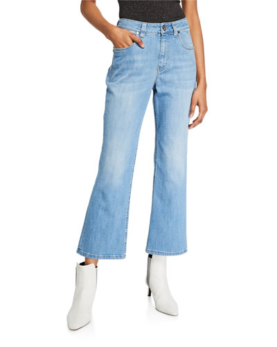 Flare-Leg Cropped Denim Jeans with Side Trim