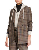 Brunello Cucinelli Hidden Button-Front Wool Cotton Jacket