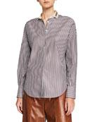 Brunello Cucinelli Cashmere-Silk Short-Bodied Hoodie Sweater and