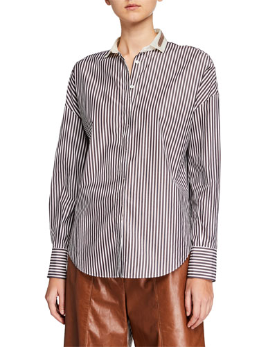 Monili-Collar Striped Button-Front Poplin Shirt