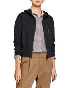 Brunello Cucinelli Short-Bodied Zip-Front Hoodie Jacket