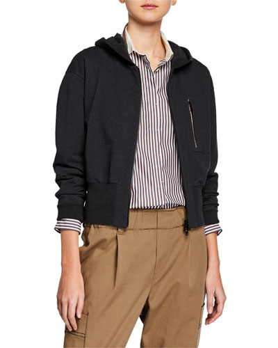 Short-Bodied Zip-Front Hoodie Jacket